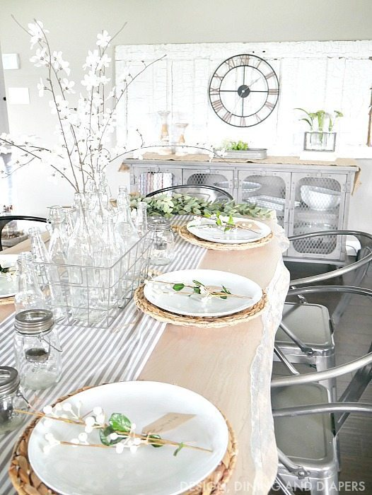 farmhouse style table setting and decor