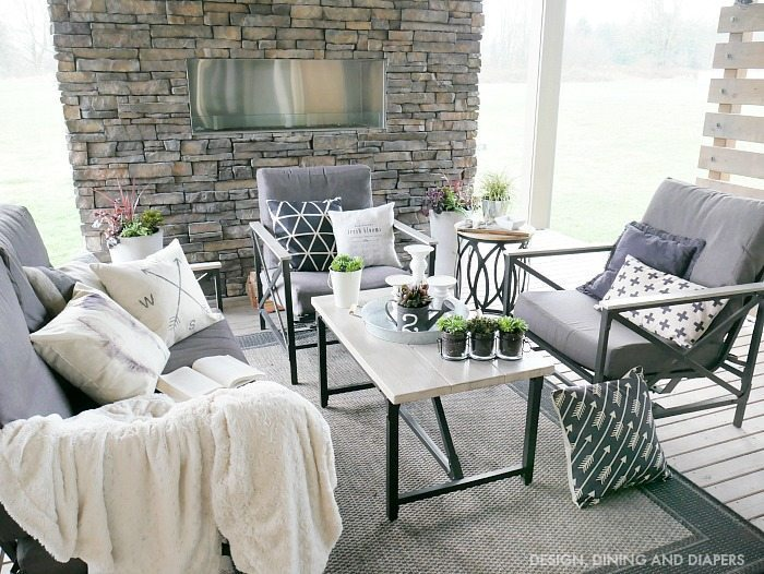 Spring Outdoor Living Space with neutrals and fresh plants
