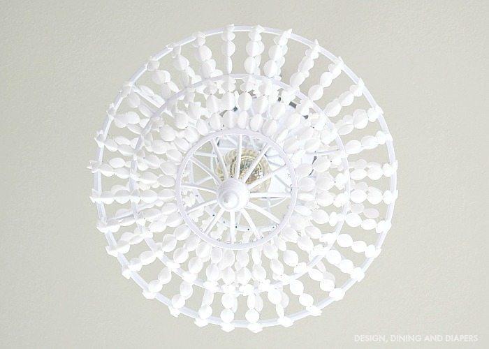 White Beaded Chandelier Above
