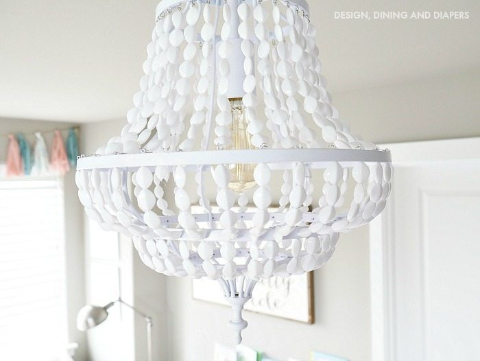 White Beaded Chandelier With Edison bulb