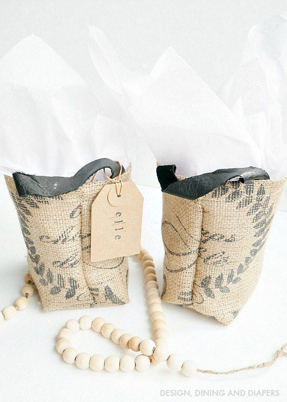 DIY Grain Sack Gift Bags - So easy and super cute!