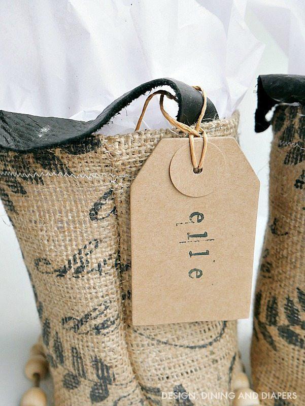 DIY Grain Sack Gift Bags