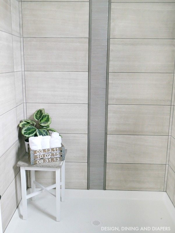 Full Tile Shower with decorative accents