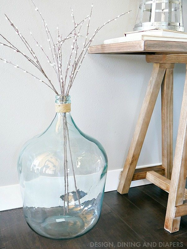 Glass vase with willows