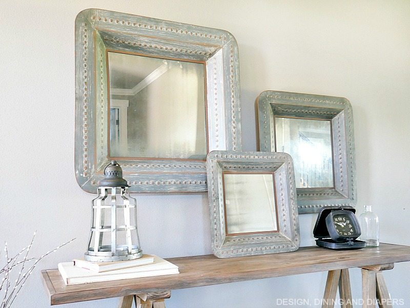 Mirrors above console table