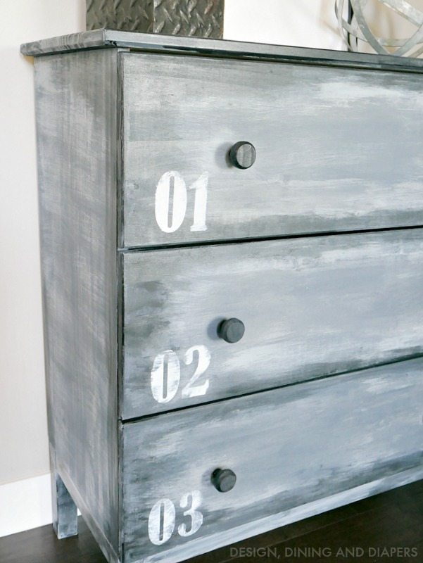 Painted Industrial Dresser to look like metal