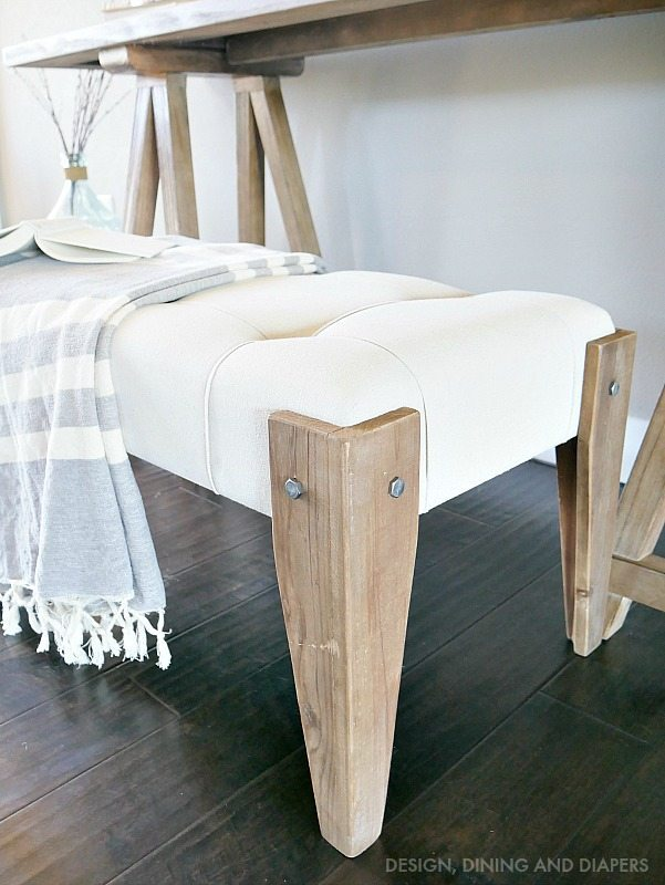 Rustic Tufted Bench