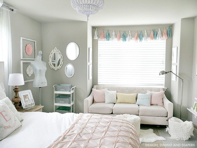 Whimsical Little Girl's Room with pink and mint accents