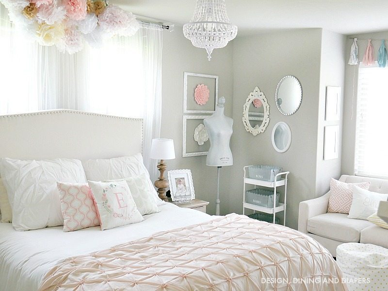 Whimsical Little girls's room full of soft pink and white