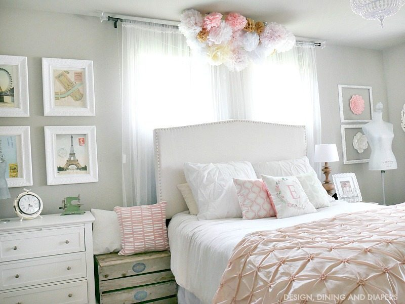 Whimsical girl room with poufs above bed