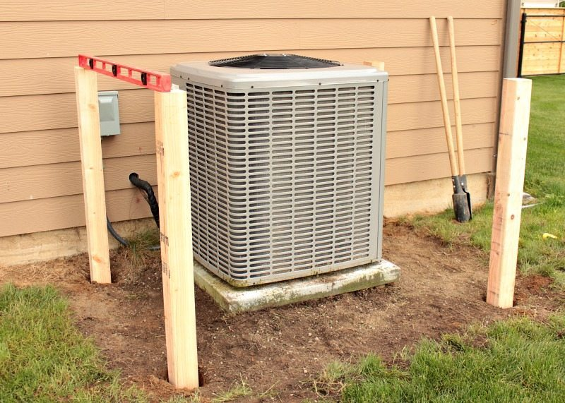 DIY AC Unit Cover-Digging Posts