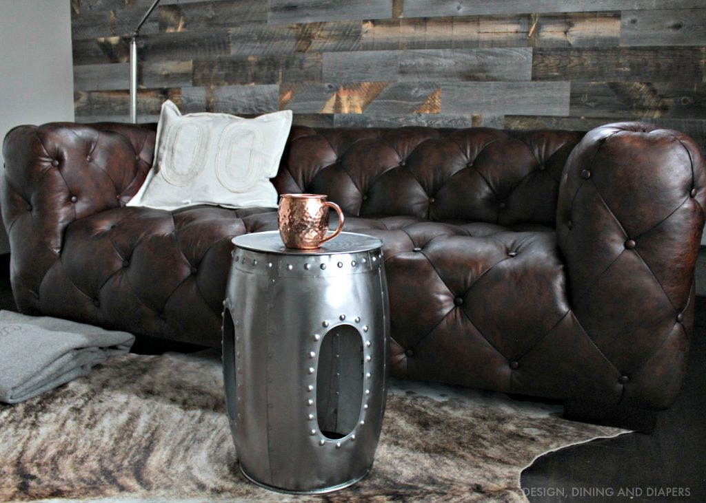 Leather Tufted Sofa with Reclaimed Wood Wall