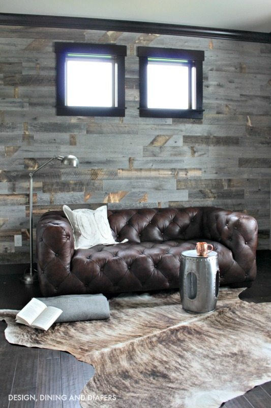 Stikwood Reclaimed Wood Wall in Masculine Office