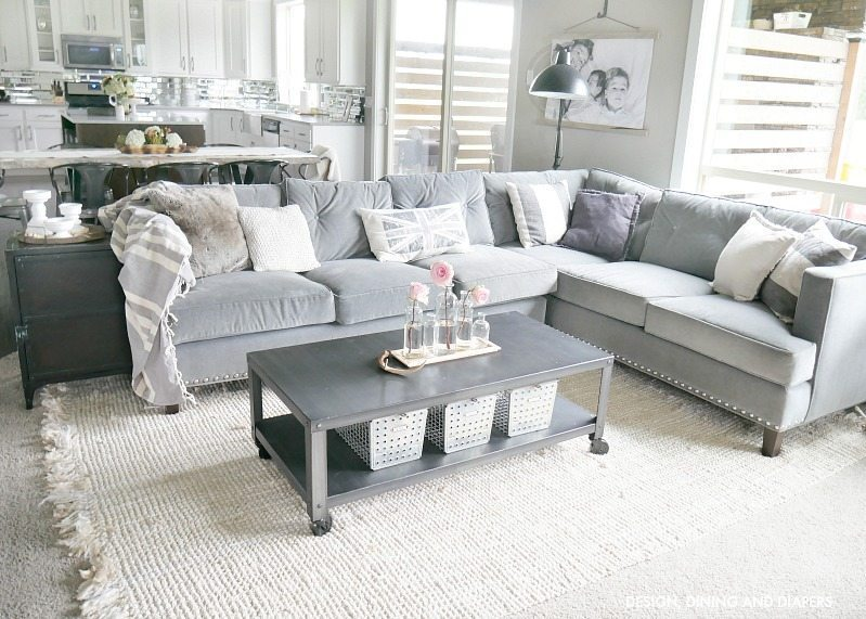GRAY SECTIONAL WITH INDUSTRIAL DECOR