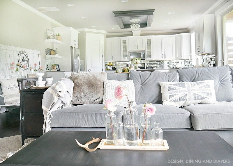 Gray and White Kitchen and Living Space