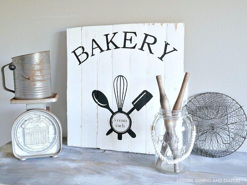 DIY rustic bakery sign