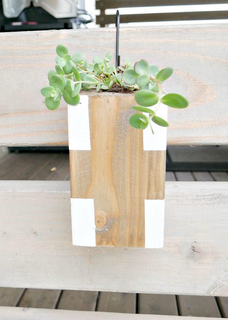 Hanging Wood Planter - Close Up