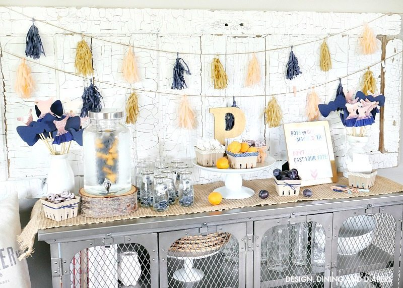 Navy and Peach Gender Reveal Party