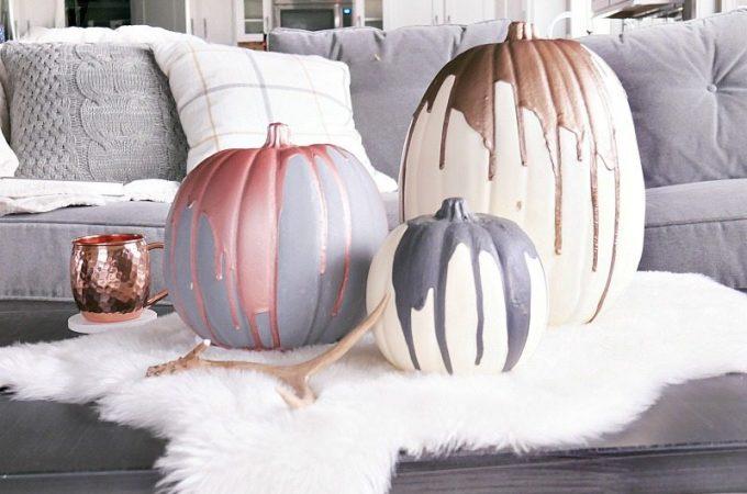 Modern Paint Dipped Pumpkins