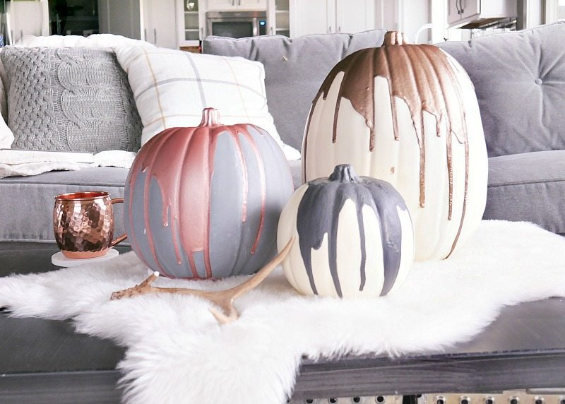 Modern Paint Dipped Pumpkins