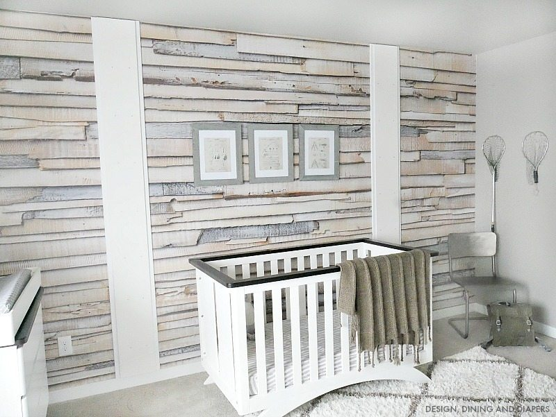 Whitewashed Wood Wallpaper in Nursery