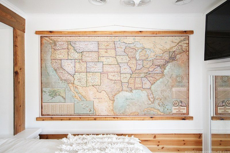 rv-bedroom-makeover-with-vintage-map-mountainmodernlife-com_