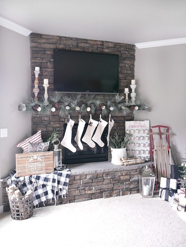 Stone Christmas Mantel and Fireplace