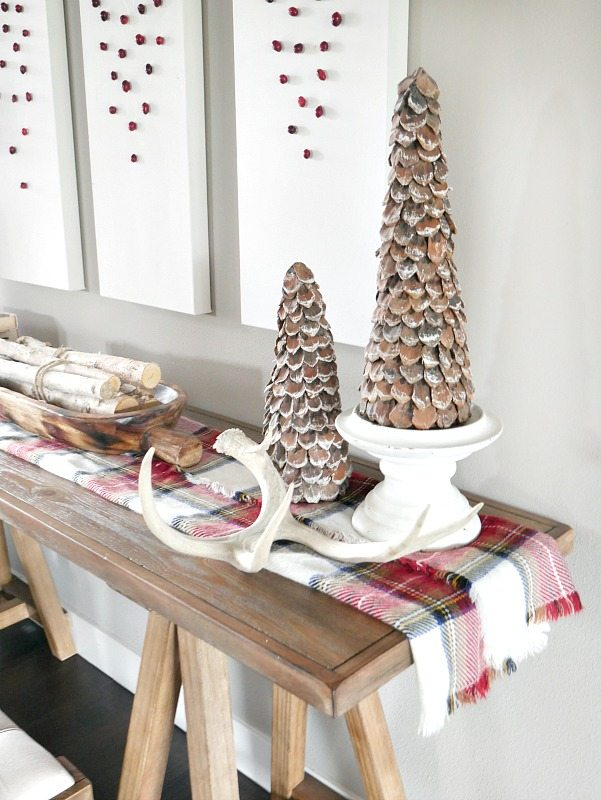 Rustic Christmas Entry Way with Pops of Red