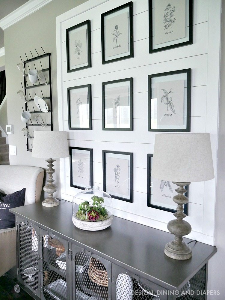 Shiplap Display with Botanical Prints