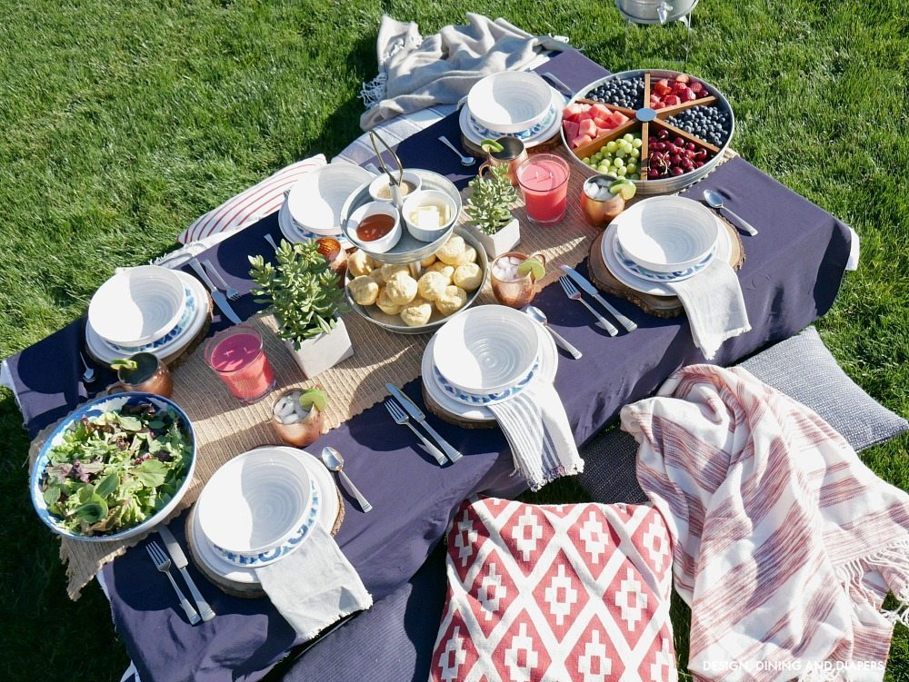 Outdoor Tablescape with ground seating
