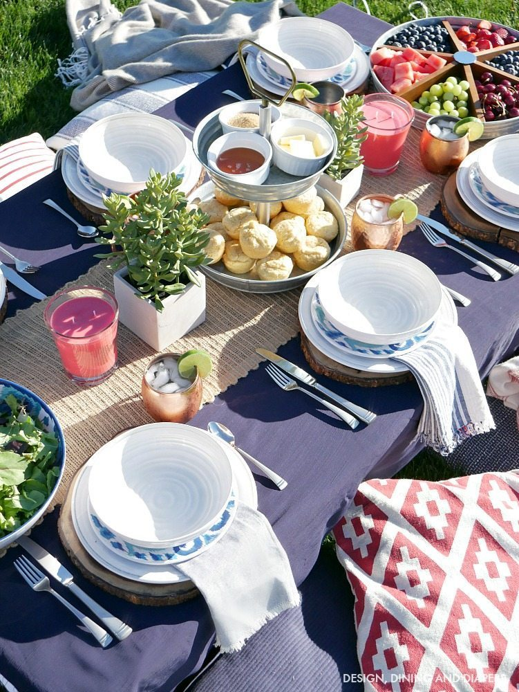 Easy summer entertaining ideas - create this Backyard Table Setting With Cushions on Ground