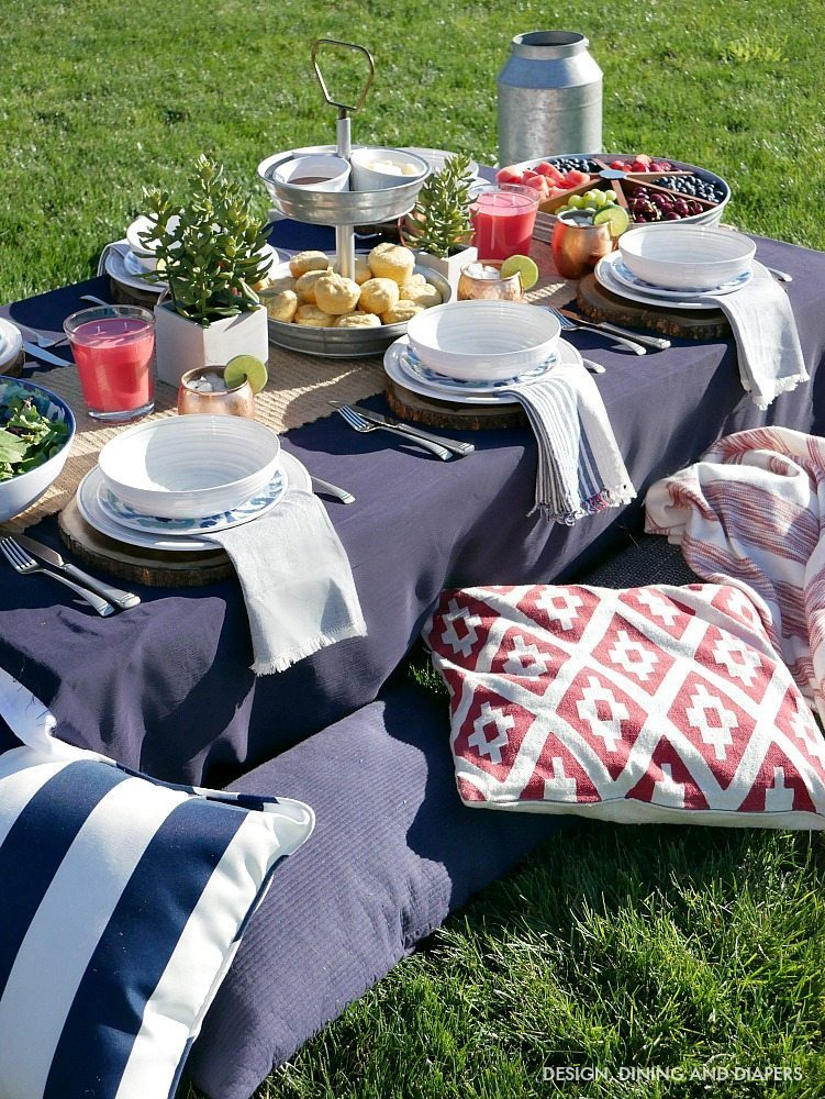 Low Style Picnic Table With Comfy pillows for seating
