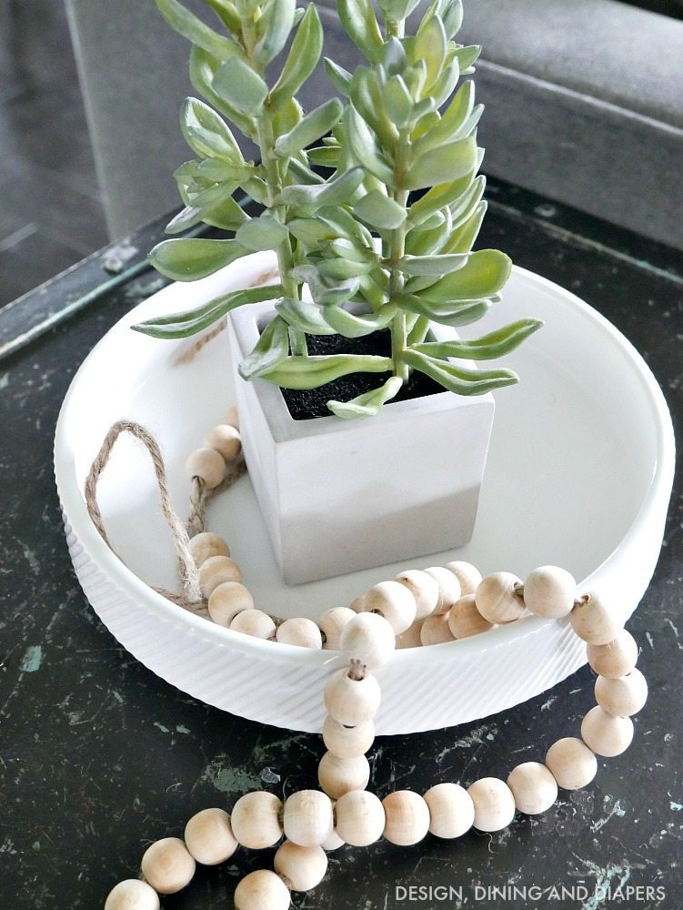 Succulents as accents with wood beads