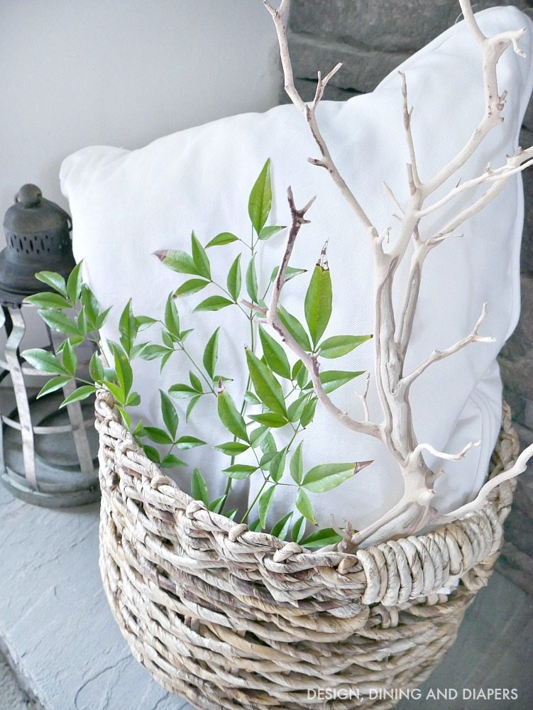 wicker basket with natural elements