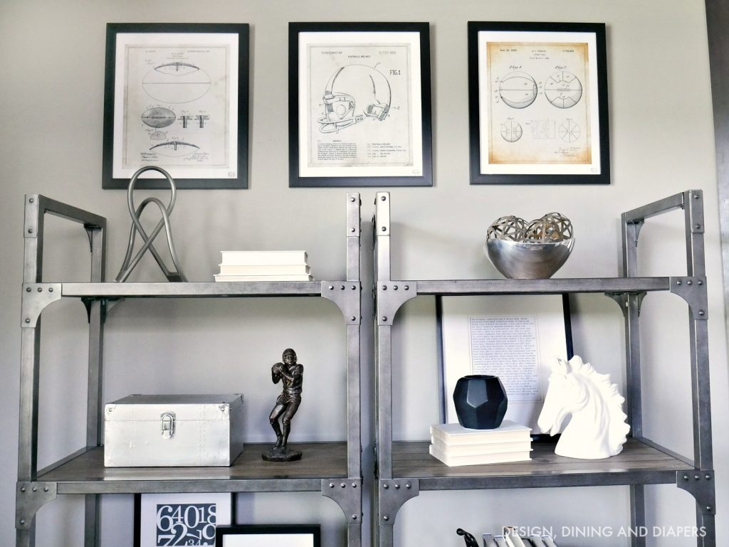 Sports Patent Prints hung in rustic home office